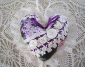 Purple and White Shabby Heart
