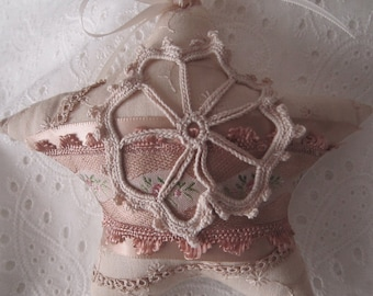 Ivory and Copper Shabby Star
