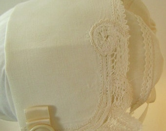 Ivory Battenberg Baby Bonnet
