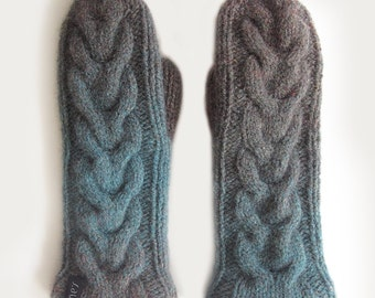 Double mittens, Hand knitted double mittens, Double wool mittens, Mittens with lining