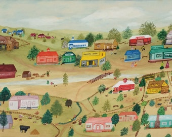 Pennsylvania Dutch Folk Art   Amazing painting Farming Country Life