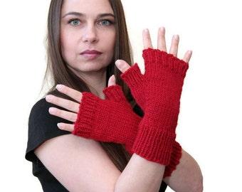 RED FINGERLESS GLOVES Hand Knit Plain Wool Fingerless Gloves by Solandia, winter gloves arm warmers, spring gloves, knitted gift trend