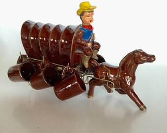 Western Covered Wagon Cowboy Horse Whiskey Shot glasses Bar Accessory
