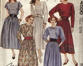 """1980's Careerwear Belted Dress - Dolman Sleeves Full Skirt - Size 12-14  Bust 34-36""""  - UNCUT - Sewing Pattern McCall's 4556"""