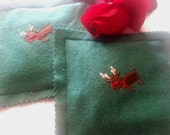Reindeer Embroidered Hand Warmers with Lavender Essential Oil One Pair