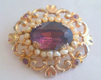 Vintage Coro Purple Glass and Faux Seed Pearl Brooch