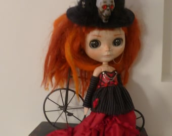 Blythe Fiery Silk Goth Outfit  SALE (BD98815)