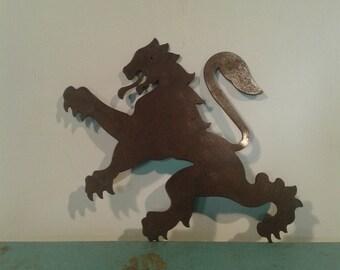 Vintage iron cut sculpture, Lion sculpture, industrial decor, home decor,