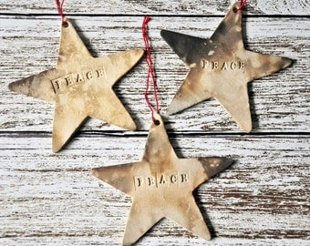 Primitive Rustic Pit Fired Star Wall Ornaments with Word Stamping - May be Customized