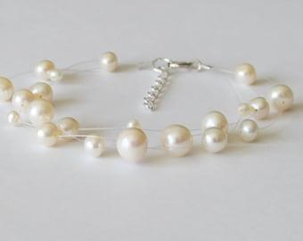 Triple row real pearl illusion bracelet- Adjustable- Sterling Silver- bridesmaid bracelet- Bridal Pearl bracelet- Floating pearl bracelet