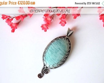 ON SALE Amazonite , sterling silver , wire wrapped pendant
