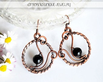 Wire wrapped ,  handmade , black onyx , copper earrings