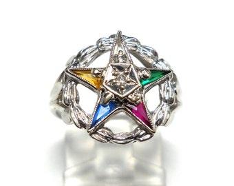 Vintage 10K White Gold Ladies Eastern Star Diamond Ring