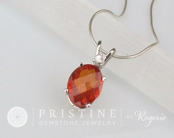 Mandarin Garnet Pendant 5cts in 14k White Gold with White Sapphire Accent Stone