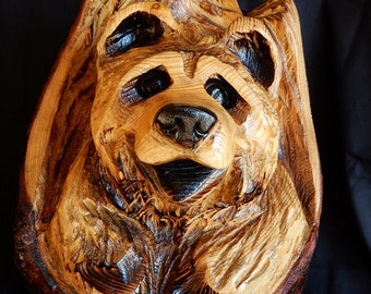 Chainsaw Carving Bear Cub in a Stump