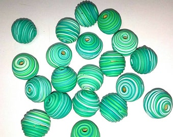 10 Fimo Polymer Clay Fimo Beads green color 14mm