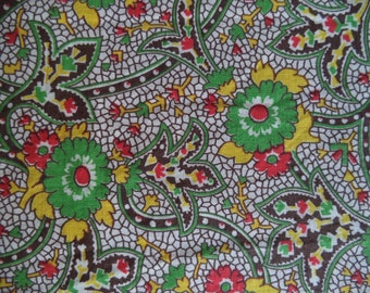 """Flower print fabric/ vintage paisley style fabric/ vintage mid century floral print fabric yellow brown red green/ 1 yard x 34 1/2"""" wide"""