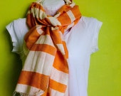 Scarf- Orange and White Cotton Stripe Scarf- Accessories - Unisex  Ethiopian Cotton long- soft Hand-woven scarf- KOI  Orange and White