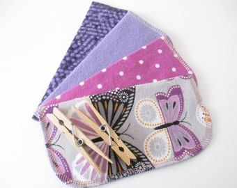 Cloth Napkins--Set of 4--Lavender Butterflies & Modern/Solid Purples Mix--Regular--Ready to Ship