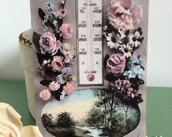 Carte postale ancienne française 'thermomètre de l'amour' Belle Epoque