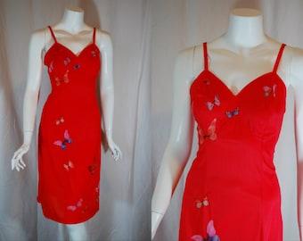 1950s 1960s Vanity Fair Red Butterfly Slip, 34, Small, Medium