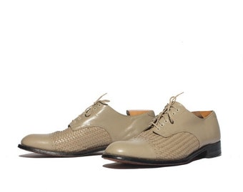 40% off Sale 11.5 D   Stacy Adams Basketweave Cap Toe Oxfords in Stone Color Leather