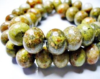 Epidote Jasper Beads Gemstone Rondelle 12x8MM