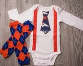 SALE!! Adorable Denver Bronco Bodysuit with suspenders and matching leggings Any Size newborn to 24 months b oodysuit or shirt size 2 4 or 6