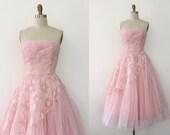 R E S E R V E D vintage 1950s dress // 50s pink lace evening prom dress