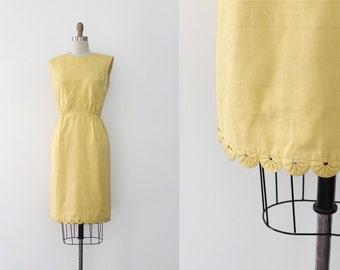 vintage 1960s dress // 60s yellow wiggle dress
