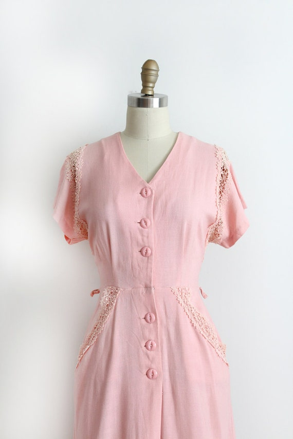 Vintage 1940s Dress 40s Pink Button Up Day By