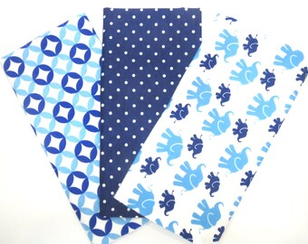 3 Pack of Cotton Flannel Fat Quarters in a Bundle of Blue, Navy and White Elephants and Matching Prints