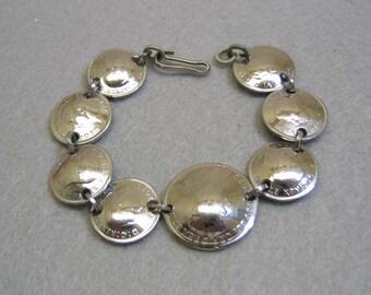 Chromed Canadain Coin Charm Bracelet, 1919-1940s