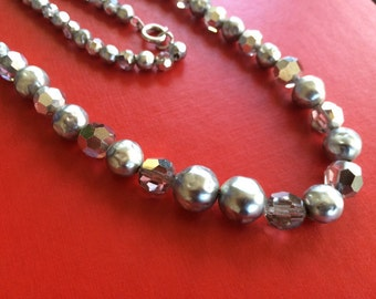 Graduated Lumpy Grey and Aurora Borealis Bead Necklace