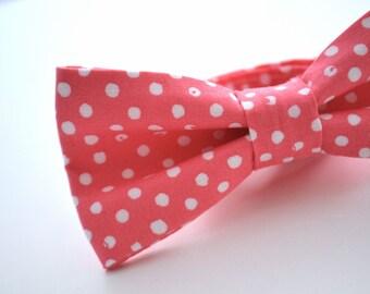 Coral Polka Dot Bow Tie, Pink Polka Dot Bow Tie, Mens Bow Tie, Watermelon Bow Tie, Wedding Bowties, Adjustable Bow Tie