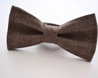 Mens Bowtie in Brown Suiting Material, Brown Bow Tie, Rustic Wedding, Groomsmen Bow Tie, Wedding Bow Tie