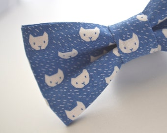 Adult Cat Bowtie, Cat Bow Tie in Blue, Handmade Bow Tie, Novelty Bow Tie, Mens Bowties By AmandaJoHandmade on Etsy