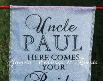 Personalized Here Comes the Bride Banner