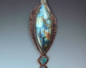 Labradorite, Apatite, and Opal- Smoky Bronze Necklace- Metal Art Statement Pendant Necklace