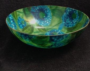 Large Vintage Fiberglass Bowl.  Dark blue & green Floral.  Mid Century Modern, Eames era. Danish Modern, 1960