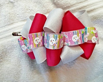 """6"""" Easter Bunny themed Loopy Bubble Boutique Bow"""