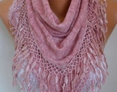 Dusty Pink Knitted Scarf, Fall Winter Shawl, Lace Oversized Bridesmaid Bridal Accessories Gift Ideas For Her, Women Fashion Accesssories
