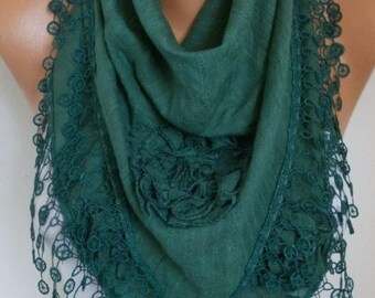 Emerald Green Cotton Floral Scarf,Wedding Scarf, Cowl Lace Shawl Bridesmaid Gift Gift Ideas For Her Women Fashion Accessories