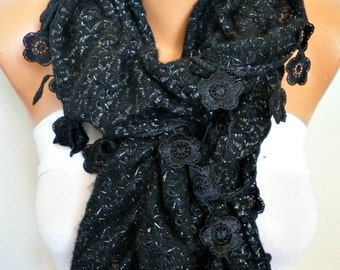 Black Ruffle Knitted Scarf, Fall Winter Lace Scarf. Shawl Scarf Flower Scarf Cowl Scarf, Gift For Her Women's Fashion Accessories