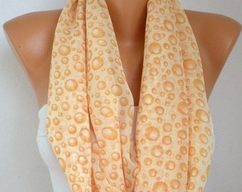 Yellow Bubble Infinity Scarf Christmas Gift Chiffon Shawl Circle Loop Scarf Gift Ideas For Her Women Fashion Accessories
