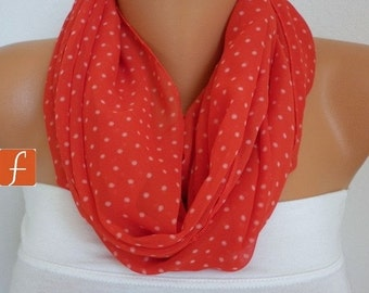Red Polka Dots Infinity Scarf Spring Chiffon Circle Loop Scarf Gift Ideas For Her Women Fashion Accessories Mother's Day Gift