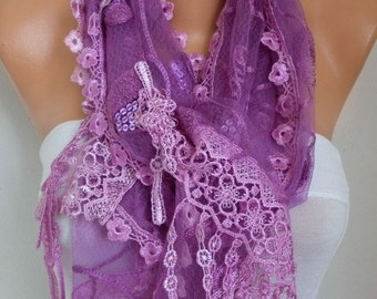 Purple Lace Floral Sequin Scarf - Wedding Shawl, Cowl Scarf, Lace Edge, Bridesmaid Gift,Gift Ideas for Her, Women Fashion
