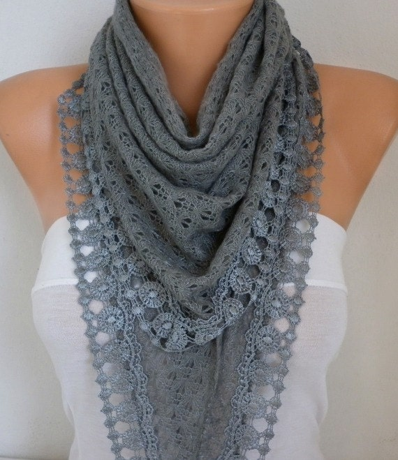 Gray Knitted Scarf Cowl Lace Bridesmaid Gift Bridal Scarf, Wedding Scarf,Gift Ideas For Her Women Fashion Accessories best selling item