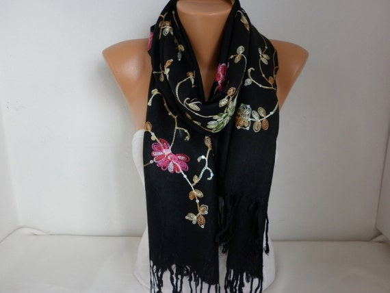 Black Embroidered Scarf,Summer Shawl, Oversized, Bridesmaid Gift, Bridal Accessories, Gift Ideas For Her, Women Fashion Accesssories