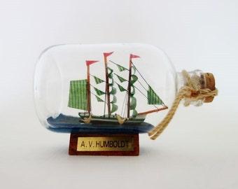 Vintage A.V. Humboldt Sailing Ship in a Bottle Medium Size